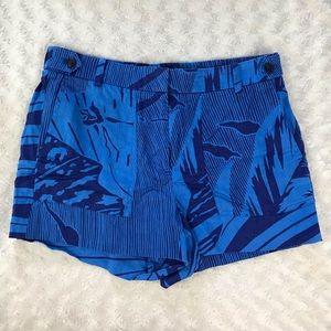 J. Crew Garden Short in Palm Frond Blue Linen Sz 8